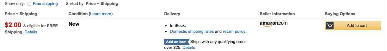 Amazon Price Listing