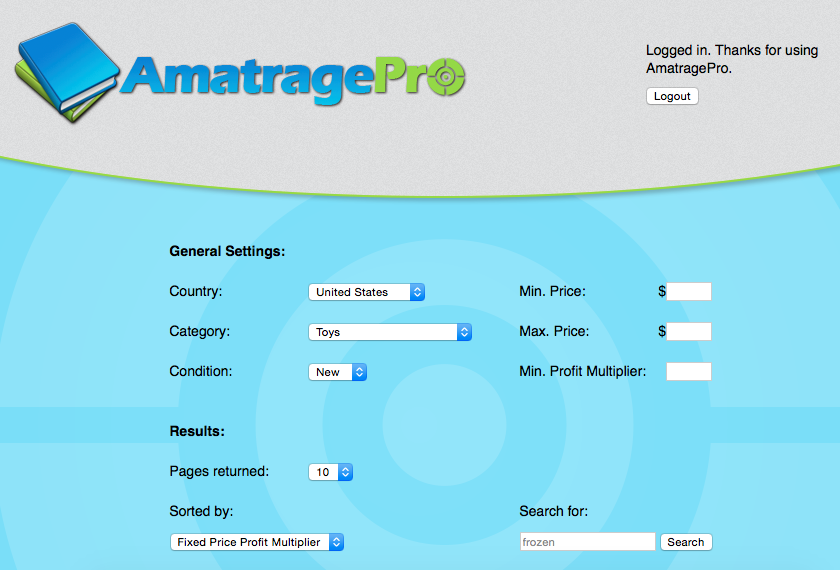 Search Parameters for AmatragePro